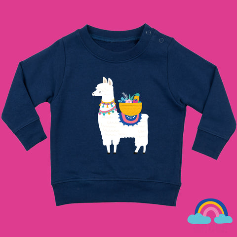 Toddler Jumper in Navy Blue - Fruity Llama Design - Ruby and the Rainbow
