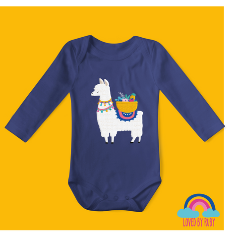 Fruity Llama Organic Long Sleeved Baby Bodysuit - Navy Blue - Ruby and the Rainbow