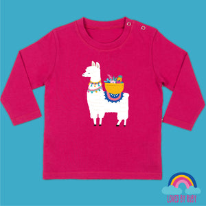 Long Sleeved Baby T-Shirt in Pink - Fruity Llama Design - Ruby and the Rainbow
