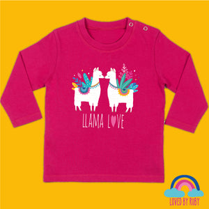 Long Sleeved Baby T-Shirt in Pink -Llama Love Design - Ruby and the Rainbow