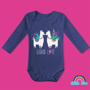 Llama Love Organic Long Sleeved Baby Bodysuit - Navy Blue - Ruby and the Rainbow