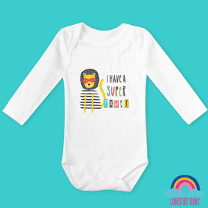 I Have a Super Power Organic Long Sleeved Baby Bodysuit - Ruby and the Rainbow