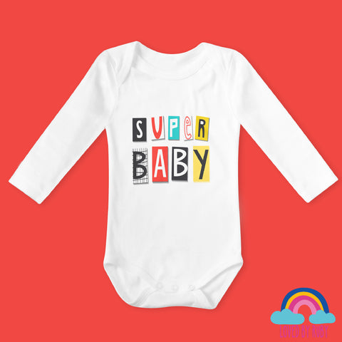 Super Baby Super Hero Long Sleeved Organic Baby Bodysuit - Ruby and the Rainbow
