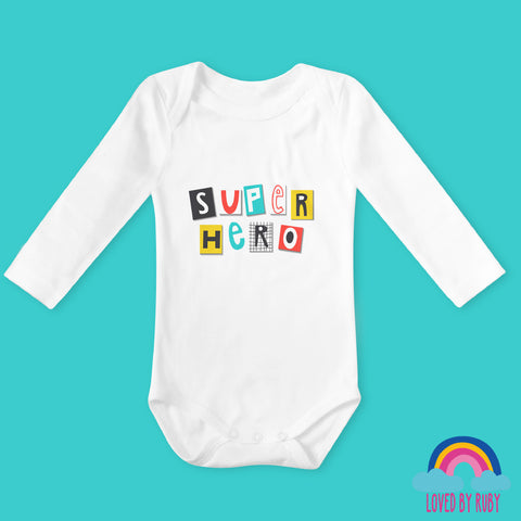 Super Hero Organic Long Sleeved Baby Bodysuit - Ruby and the Rainbow
