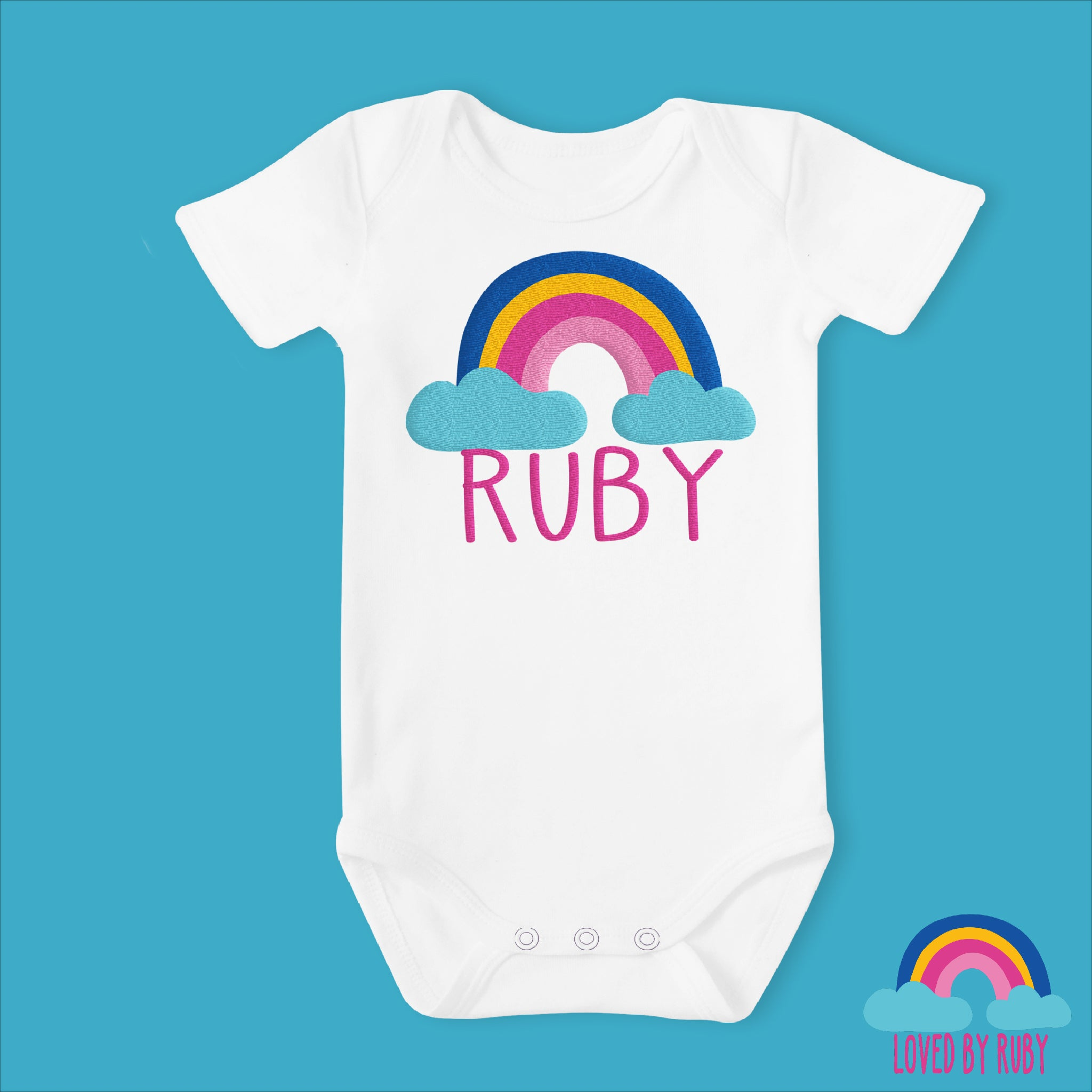 Personalised Rainbow Baby Vest in White - Rainbow Design - Ruby and the Rainbow