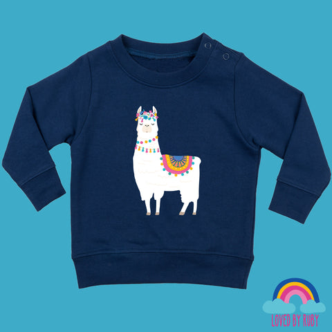 Toddler Jumper in Navy Blue - Flower Llama Design - Ruby and the Rainbow