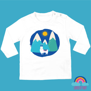 Organic Long Sleeved Baby T-Shirt in white - Llama in the Mountains - Ruby and the Rainbow