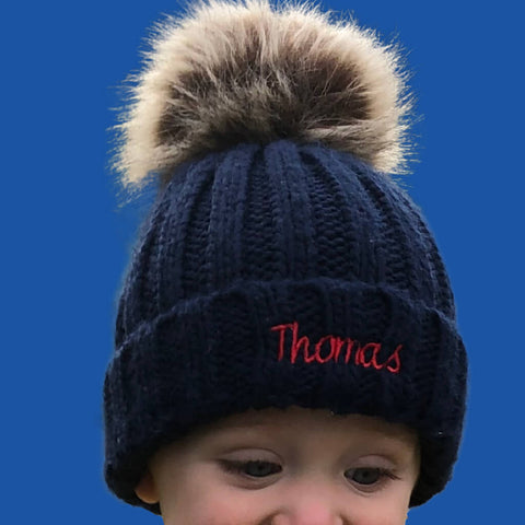 Navy Personalised Baby Faux Fur Pom Pom Beanie - Ruby and the Rainbow
