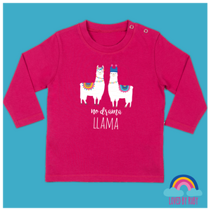 Long Sleeved Baby T-Shirt in Pink - No Drama Llama Design - Ruby and the Rainbow
