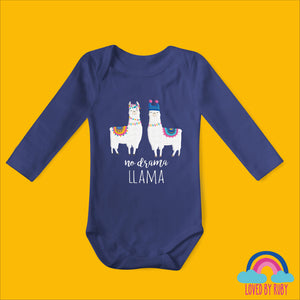 No Drama Llama Organic Long Sleeved Baby Bodysuit - Blue - Ruby and the Rainbow