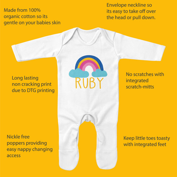 Personalised Rainbow Baby Sleepsuit - 100% Organic with Rainbow Design - Ruby and the Rainbow