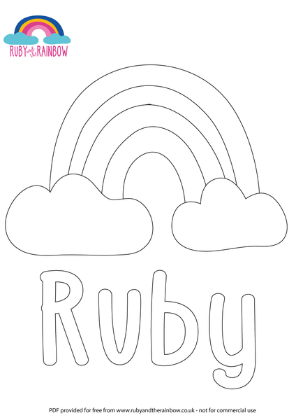 Rainbow Colouring Sheet - Ruby and the Rainbow
