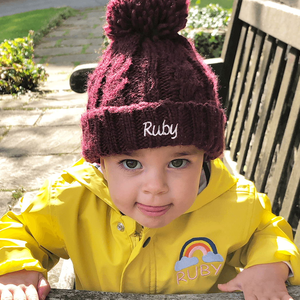 Personalised Baby Bobble Hat - Cable Knit - Ruby and the Rainbow