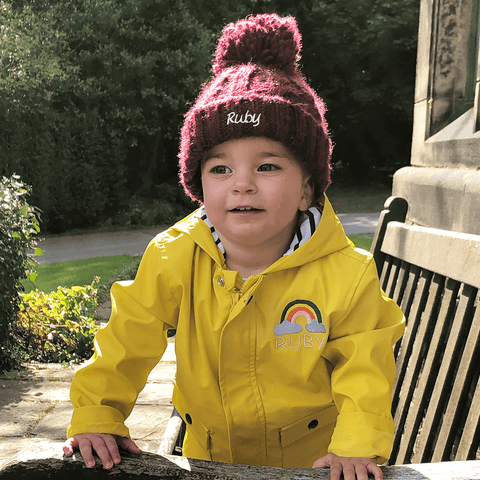 Baby Bobble Hat - Cable Knit - Ruby and the Rainbow