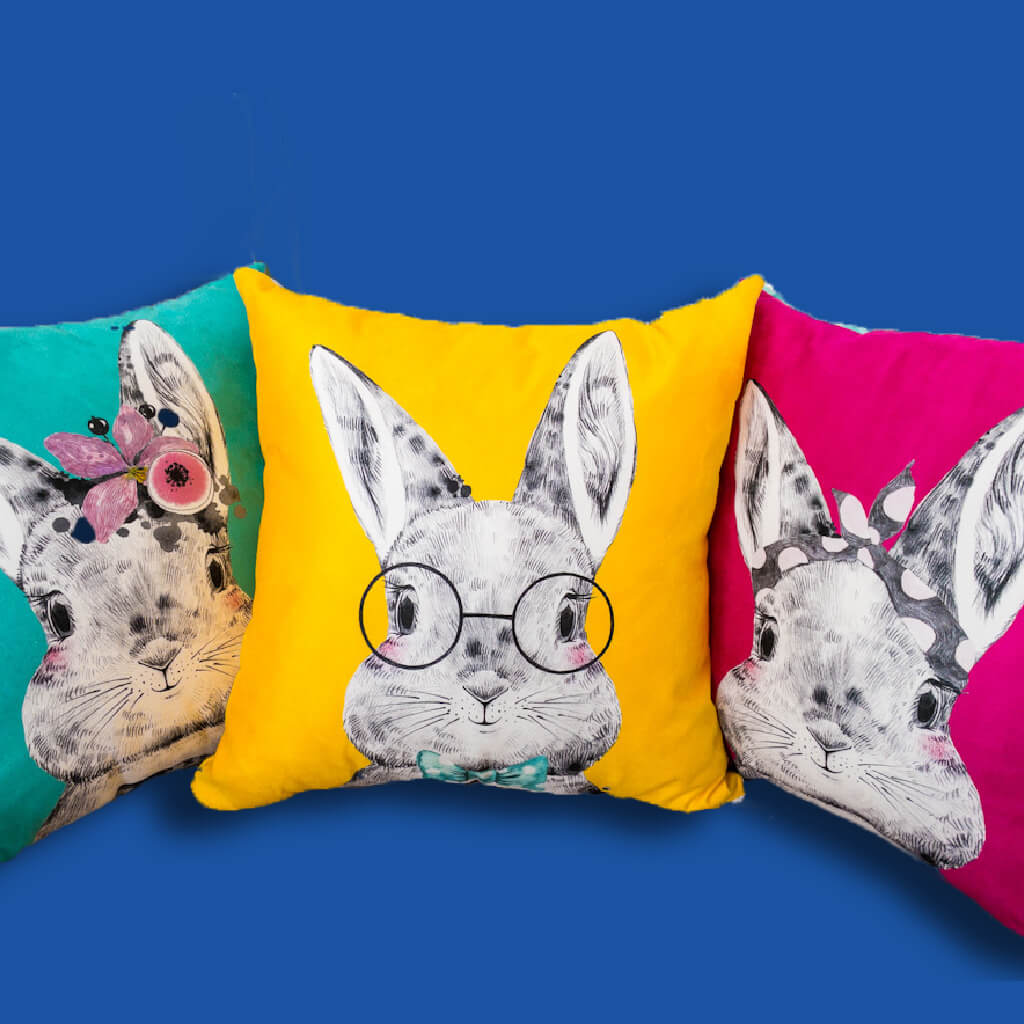 Personalised Baby Cushion - the most unique baby gift by Ruby and the Rainbow.  Select your bunny and personalise the reverse of the cushion with an initial and their name.