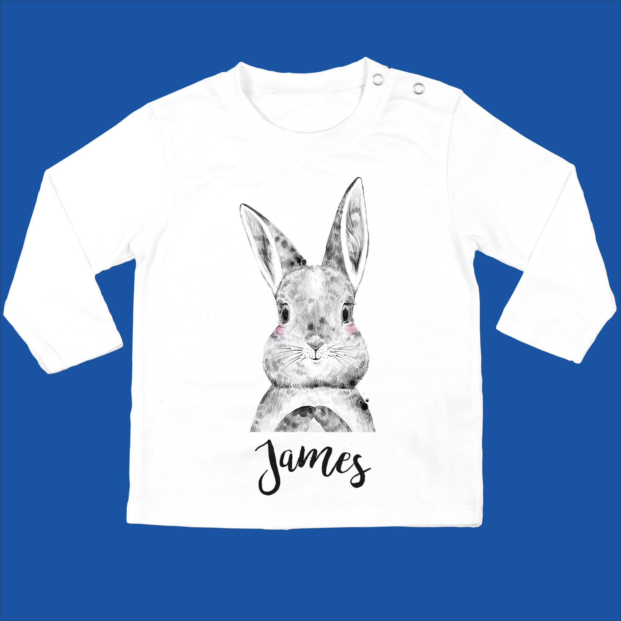 Personalised Organic Bunny Baby Long Sleeved T-Shirt with Bunny Design - Ruby and the Rainbow