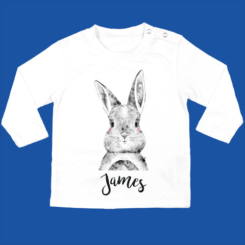 Personalised Organic Bunny Baby Long Sleeved T-Shirt with Bunny Design