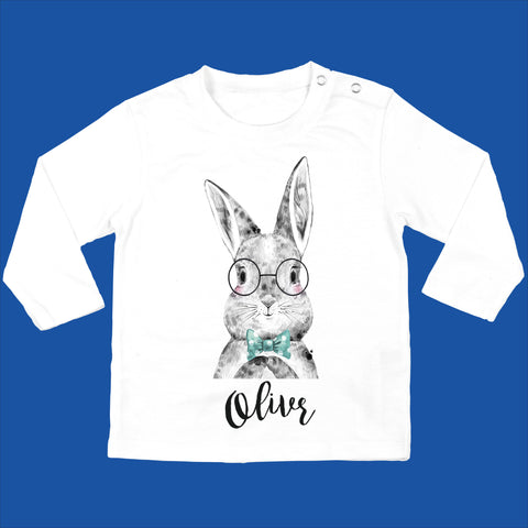 Personalised Baby Boy Bunny Top Organic - Bunny with Bowtie - Ruby and the Rainbow