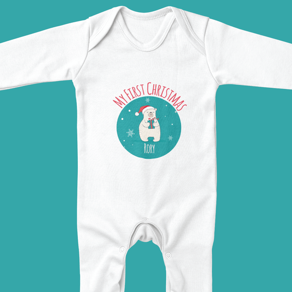 Personalised Christmas Sleep Suit - Ruby and the Rainbow