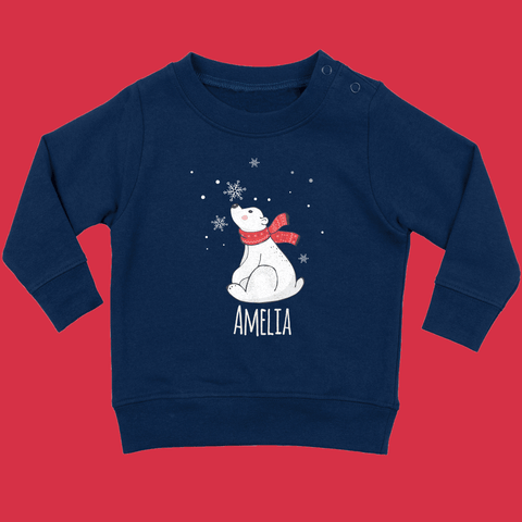Personalised Christmas Baby Jumper in Navy Blue - Ruby and the Rainbow