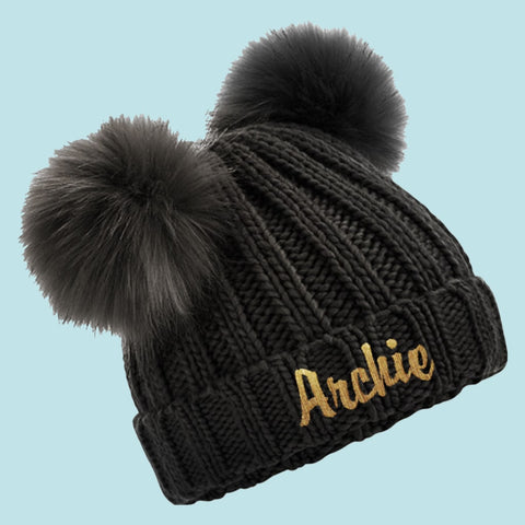 Black Personalised Baby Faux Fur Double Pom Pom Beanie - Ruby and the Rainbow