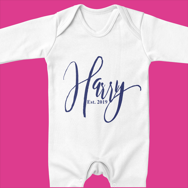 Personalised Organic Baby Grow - Ruby and the Rainbow