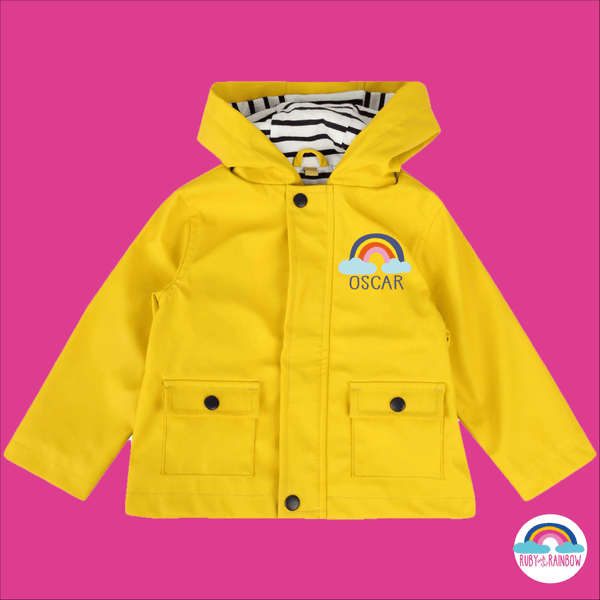 Kids Raincoat with Personalised Rainbow Design - Ruby and the Rainbow