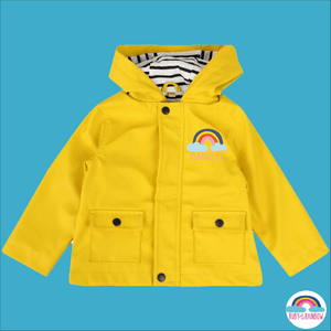 Toddler Raincoat with Personalised Rainbow Design - Ruby and the Rainbow