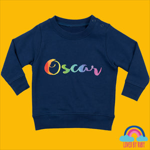 Personalised Rainbow Baby Toddler Jumper in Navy Blue - Rainbow Design - Ruby and the Rainbow