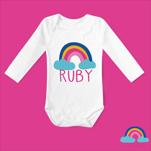 Personalised Rainbow Baby Long Sleeved Organic Baby Vest - White with Rainbow Design - Ruby and the Rainbow