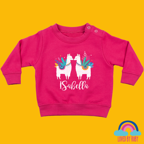 Personalised Toddler Jumper in Pink - Llama Love Design - Ruby and the Rainbow