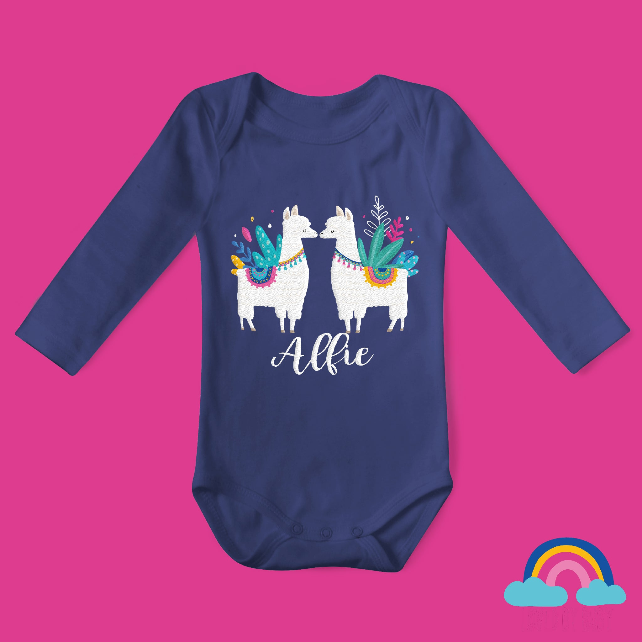 Personalised Llama Love Organic Long Sleeved Baby Bodysuit - Navy Blue - Ruby and the Rainbow