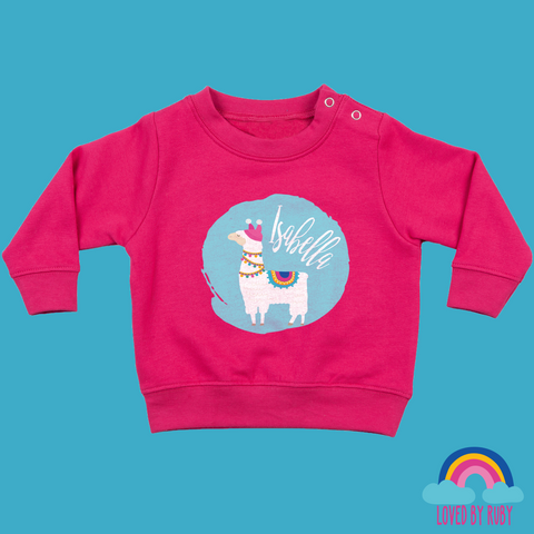 Personalised Toddler Jumper in Pink -Llama on Blue Design - Ruby and the Rainbow