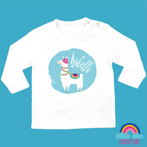 Personalised Organic Long Sleeved Baby T-Shirt - Llama on Blue - Ruby and the Rainbow