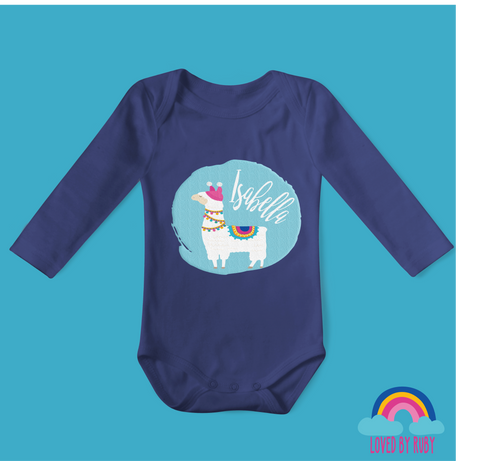 Personalised Llama on Blue Organic Long Sleeved Baby Bodysuit - Blue - Ruby and the Rainbow