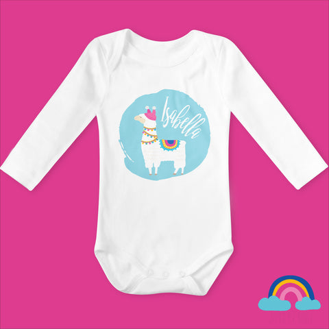 Personalised Llama on Blue Organic Long Sleeved Baby Bodysuit - White - Ruby and the Rainbow