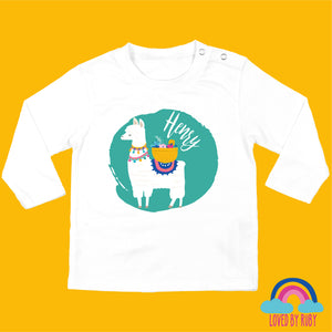 Personalised Organic Long Sleeved Baby White T-Shirt - Llama on Green Long - Ruby and the Rainbow