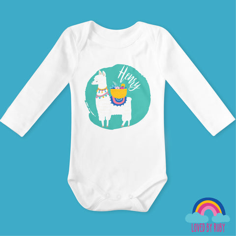 Personalised Llama on Green Long Sleeved Organic Baby Bodysuit - White - Ruby and the Rainbow