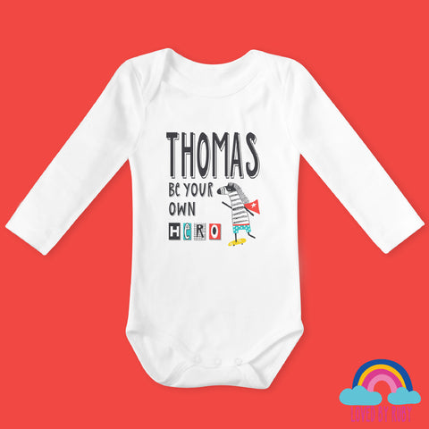 Personalised Be Your Own Hero Organic Long Sleeved Baby Bodysuit - Ruby and the Rainbow