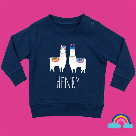 Personalised Toddler Jumper in Navy Blue - No Drama Llama Design - Ruby and the Rainbow