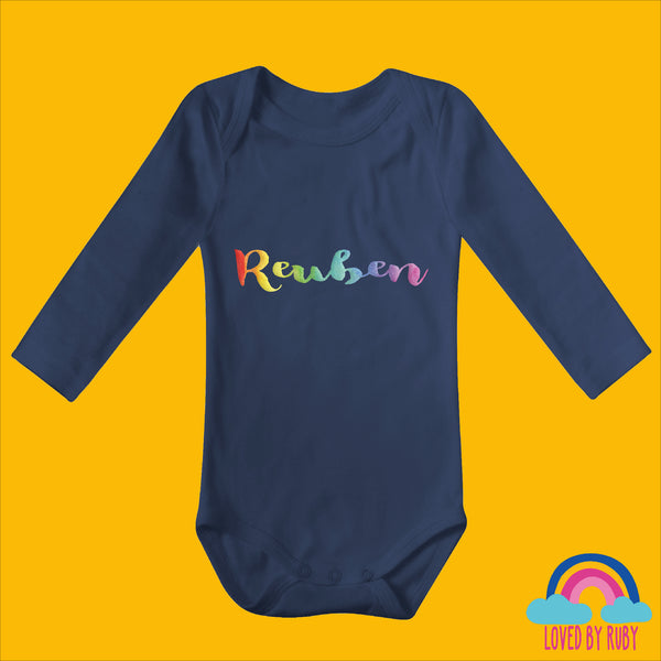 Personalised Rainbow Baby Vest in Navy Blue - 100% Organic- Rainbow Writing - Ruby and the Rainbow
