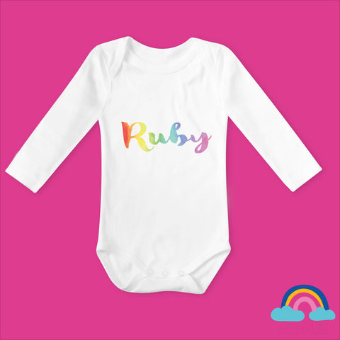 Personalised Rainbow Baby Vest- White - With Rainbow Writing - Ruby and the Rainbow