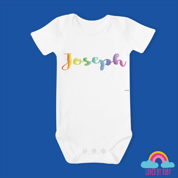 Personalised Rainbow Baby Vest - 100% Organic, With Rainbow Writing - Ruby and the Rainbow