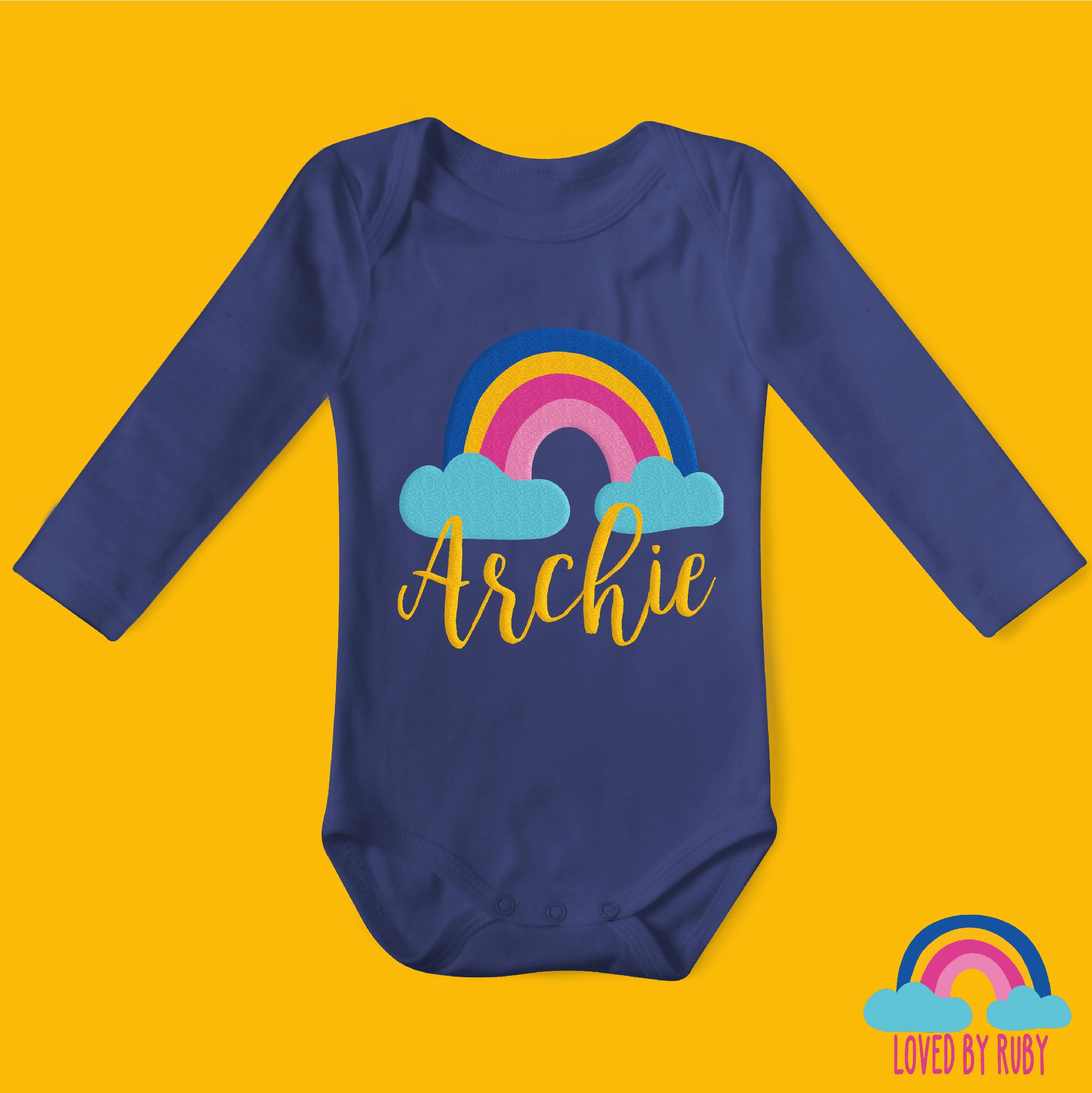 Personalised Rainbow Baby Vest in Navy, 100% organic - Rainbow Design - Ruby and the Rainbow