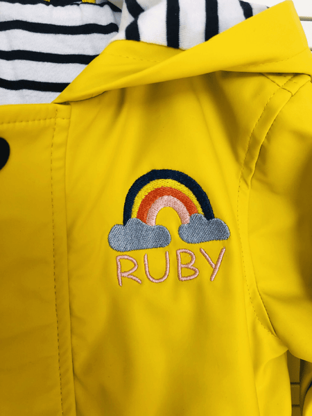Baby Raincoat with Personalised Rainbow Design - Ruby and the Rainbow