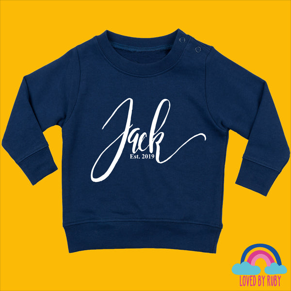 Personalised Toddler Jumper in Navy Blue - Simply Personalised - Ruby and the Rainbow