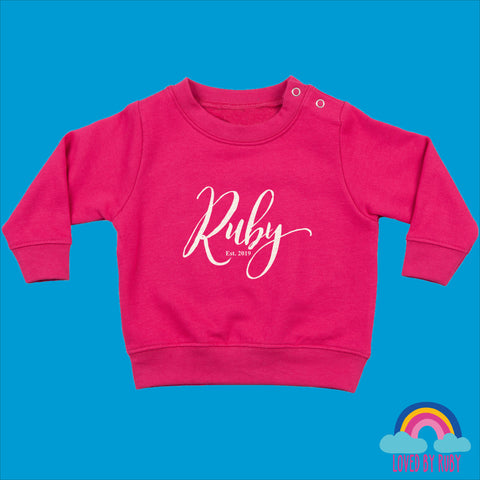Personalised Toddler Jumper in Pink - Simply Personalised - Ruby and the Rainbow