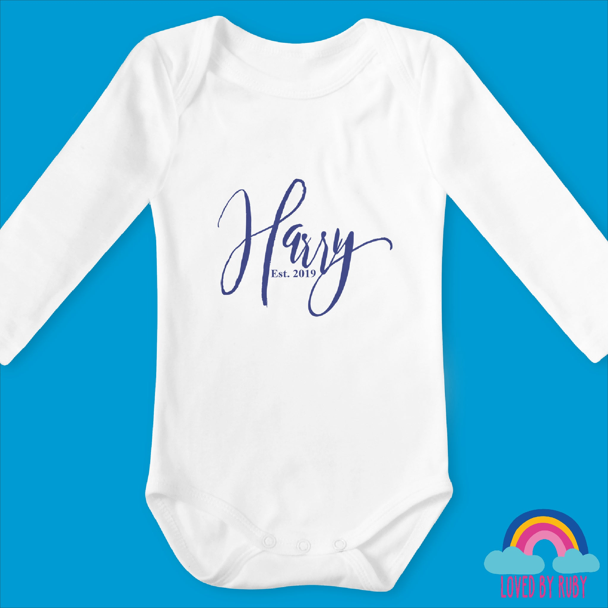 Simply Personalised Organic Long Sleeved Baby Body Vest - White - Ruby and the Rainbow