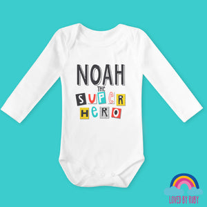 Personalised Super Hero organic long Sleeved Baby Bodysuit - Ruby and the Rainbow