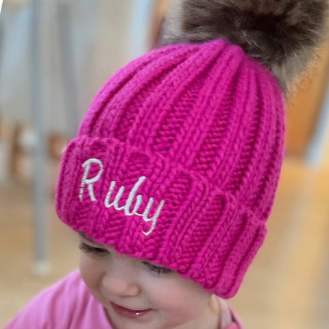 Pink Personalised Baby Faux Fur Pom Pom Beanie - Ruby and the Rainbow